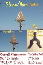 WEATHER VANE 3D COPPER SAILBOAT SLOOP WEATHERVANE W/ROOF MOUNT
