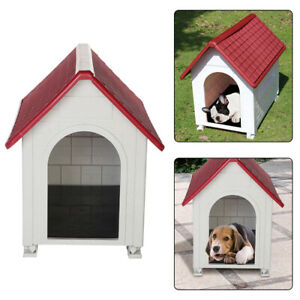 Plastic Dog Kennel Pet Cat House Weatherproof Indoor Outdoor Animal Shelter Red