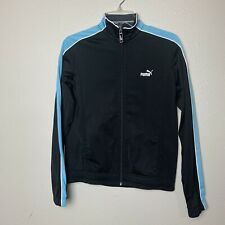 Puma black blue full zip athletic jacket With Logo Front And Back - Size Medium