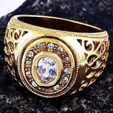 Gold Filled Clear CZ Mens Ring Size 10 Vintage Free Shipping