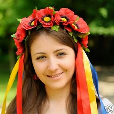 Ukrainian Wreath, Headdress, Hoop, Vinok of roses, poppys or wild flowers