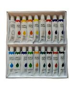 ARTIST & STUDENT  ACRYLIC PAINT SET OF 18 COLORS 12ML EA TUBE SET New In Box!