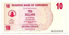 Zimbabwe 10 dollars 2006 bearer cheque   FDS  UNC    pick 39    lotto 3638