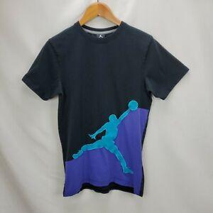 Nike Air Jordan Mens Jump Man Logo Short Sleeve T Shirt Size Medium Black Purple