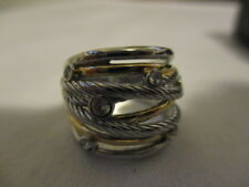 AVON Stainless Steel Timeless Multi-Layer Ring With Goldtone & CZ Accents Size 5