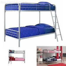 Bunk Beds Twin Over Twin Kids Furniture Bedroom Frame With Ladder Metal Silver