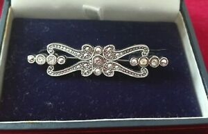 Vintage jewellery faux marcasite clear crystal Art Deco inspired bar Brooch