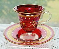 ANTIQUE SALVIATI MOSER ENAMELED CRANBERRY RUBY RED VENETIAN TEA CUP  c.1925