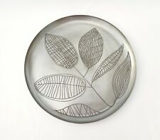 Antique Nickel Decorative Plate. Handcrafted leaf pattern. Candle Holder. New