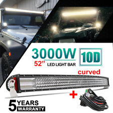 "52INCH 3000W 10D Quad Row Curved LED LIGHT BAR Spot Flood COMBO BOAT VS 50"" 54"""