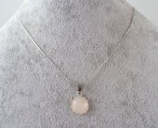 Lovely Rose Quartz 12 mm Cabochon, 925 Silver 18'' Snake Chain Necklace.Handmade
