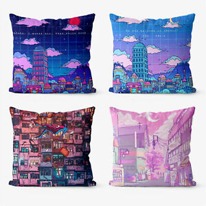 Landscape Illustration  4 Pieces Two Sides Printed Throw Pillow Case Cover