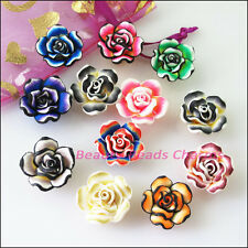 6Pcs Mixed Handmade Polymer Fimo Clay Flower Spacer Beads Charms 20mm