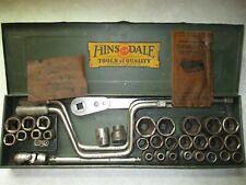 HINSDALE Vintage TOOL SET Ratchet Cranks U-Joint Hex, Square Sockets Box, Extras