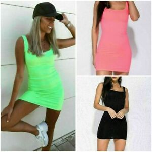 Womens Ladies Sleeveless Square Neck Ribbed Neon Short Mini Party Bodycon Dress