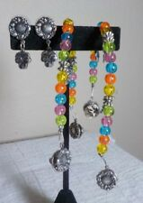 SWEATER CLIPS SET OF 2 WITH MATCHING POST EARRINGS SILVERTONE METAL & BEADS