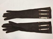 Vintage 1950's Gants Jouvin Brown Suede Opera Gloves w Embroidered Flowers Sm