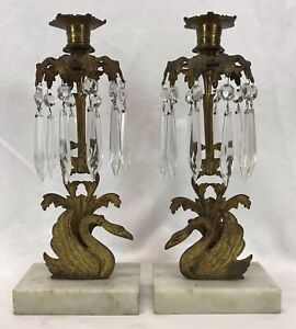 Pair Antique Brass Marble Prisms Swan Girandoles Candle Holders Candlesticks