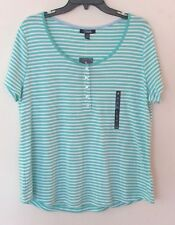 Womens Chaps Turquoise/White Striped S/S Blouse/Top, 100% Cotton, 3X, NWT