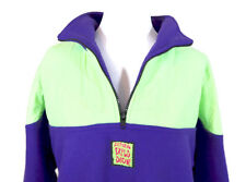 VTG 90s Cultural Explosion NEON FLEECE Purple Green PULL OVER JACKET Small S