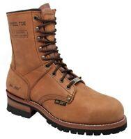 """AdTec Mens 9"""" Logger Steel Toe Work Boot Full-Grain Leather Job Site Brown 1740"""