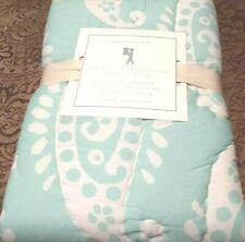 Pottery Barn Kids AVA Paisley Wholecloth Quilted Standard Sham Blue Green trim