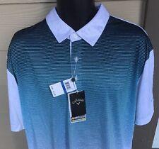 NWT Callaway Opti Dri Golf Polo Shirt L Lrg Moisture Wicking Blue Atoll NWT $75