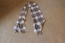 Lochmere White & Brown Plaid Fringe Natural Dress Stewart Scarf Shawl Cashmere