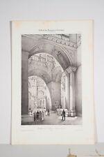 Lithographie XIX° Architecture Romane Basilique saint Marc Venise bas-côtés