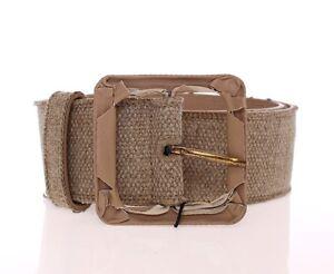 DOLCE & GABBANA Beige Leather Logo Belt Cintura Gürtel s. 65cm / 26inch