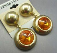 Vintage ANTIQUE GOLD TONE Dangle Earrings ORANGE RIVOLI RHINESTONE Round Drops