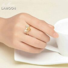 LAMOON Honey Bee Resizable Oval Citrine Ring 100% S925 Silver Animal Shape GK