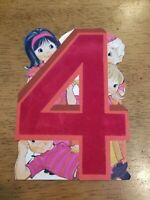 "Adorable Vintage ""4"" Red Velvet Die Cut Happy Birthday Greeting Card Boy Girl"