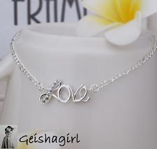 Love Elegant Sexy 925 Silver Anklet Foot Chain Ankle Bracelet Love UK Seller