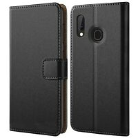 Case for Samsung Galaxy A20e Genuine LEATHER Magnetic Flip BLACK Wallet CoverA10