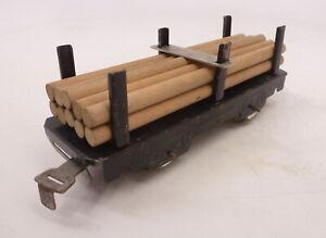 MX Vintage Marx Tin Log Flatcar w Stakes & Tie Down