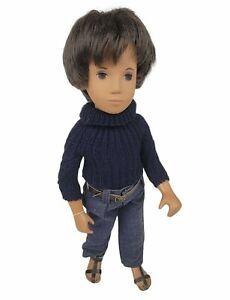 """Vintage Sasha GREGOR 16"""" Brunette Doll, Dark Denims - No Box - England"""