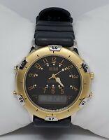 Mens Bill Blass Gold Tone Black Strap Analog Digital Watch 001-T480 B6