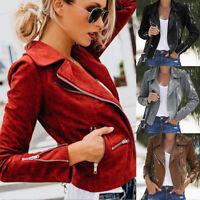 UK Women Ladies Leather Jacket Coats Zip Up Biker Casual Flight Top Coat Outwear