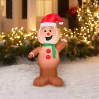 CHRISTMAS SANTA GINGERBREAD MAN  AIRBLOWN INFLATABLE YARD DECORATION 4 FT TALL