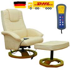 Elektrischer Massagesessel Fußhocker Heizfunktion Relaxsessel Fernsehsessel Weiß