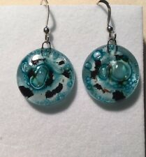 Handmade Fused Glass Round Earrings - 925 silver hooks