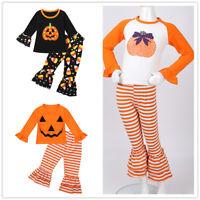 Baby Girls Pumpkin Printed T-Shirt Tops+Ruffle Falre Pants Set Halloween Costume