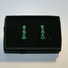 Genuine Round Pear Shape Emerald Dangle Drop Earrings White 14k Gold over 925 SS