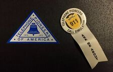 Vintage Telephone Pioneers of America Sticker & Employee Button for 911 Call Sim