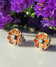 Gorgeous Vintage Inspired 14ct Yellow Gold Round Flower Diamond Stud Earrings
