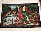 VTG Wall Tapestry Hanging Angel And Children Velour Velvet Style Wall Art Turkey