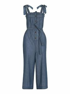 WHISTLES Ladies Blue Cotton Tie Chambray Sleeveless Jumpsuit M BNWT RRP129