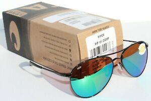 COSTA DEL MAR Piper POLARIZED Sunglasses Shiny Black/Green Mirror 580P NEW $229