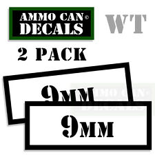 9MM Ammo Can Sticker bullet Can Box ARMY Gun safety Hunting 2 pack WT
